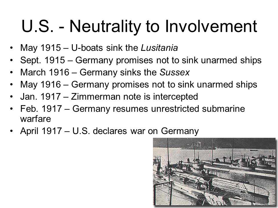 U.S. - Neutrality to Involvement