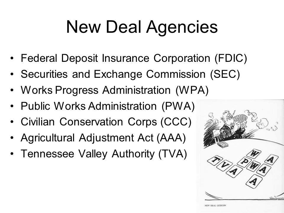 New Deal Agencies Federal Deposit Insurance Corporation (FDIC)