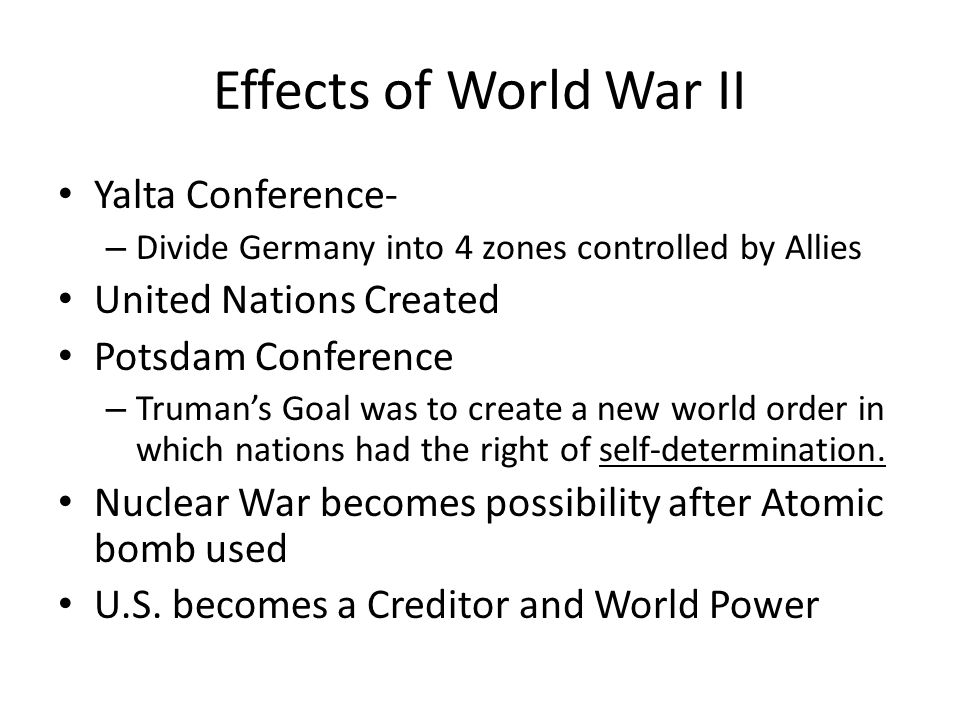 Effects of World War II Yalta Conference- United Nations Created