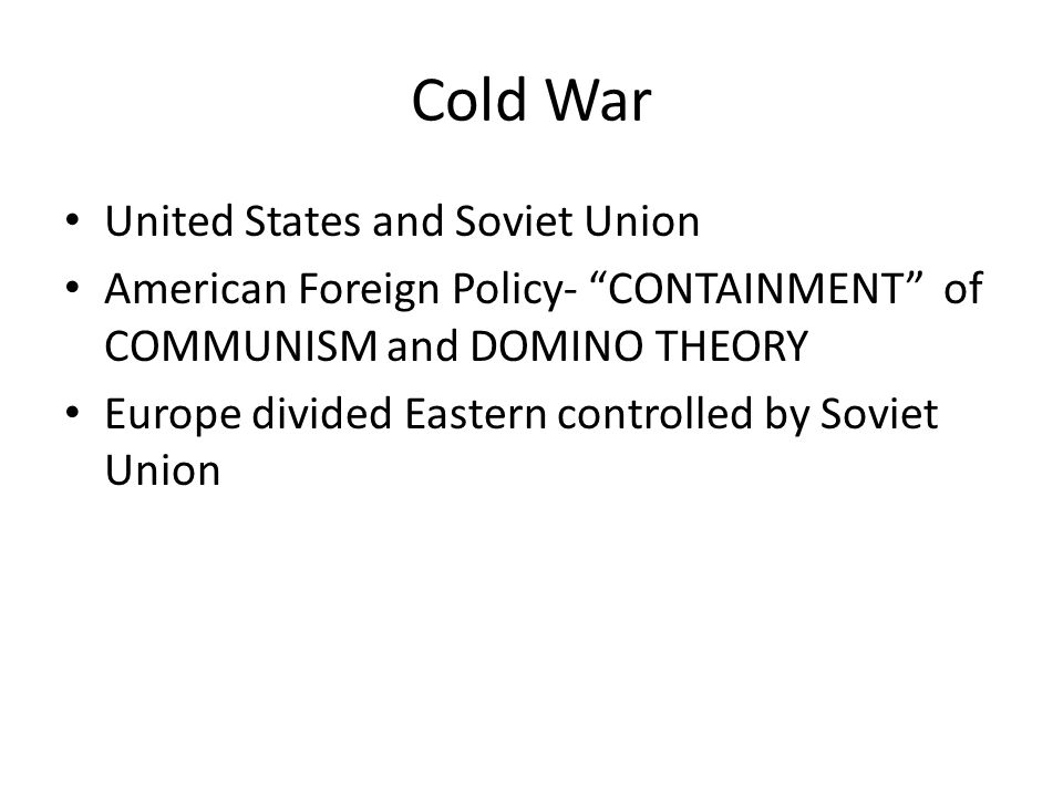 Cold War United States and Soviet Union