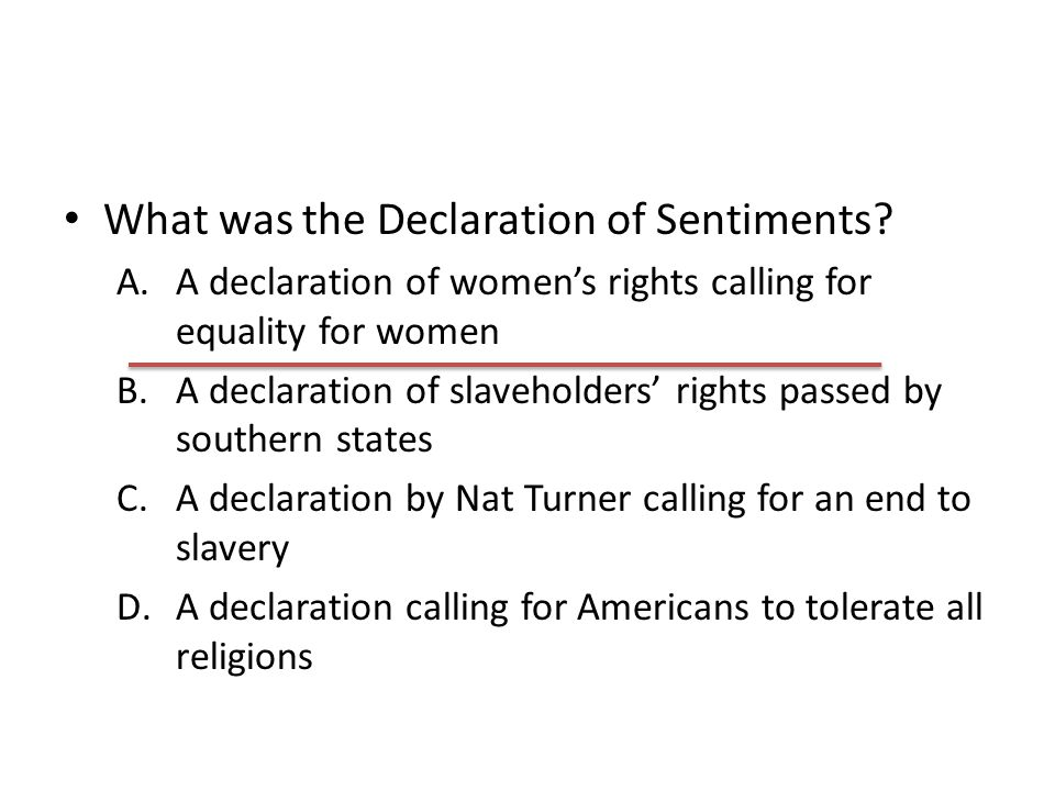 What was the Declaration of Sentiments