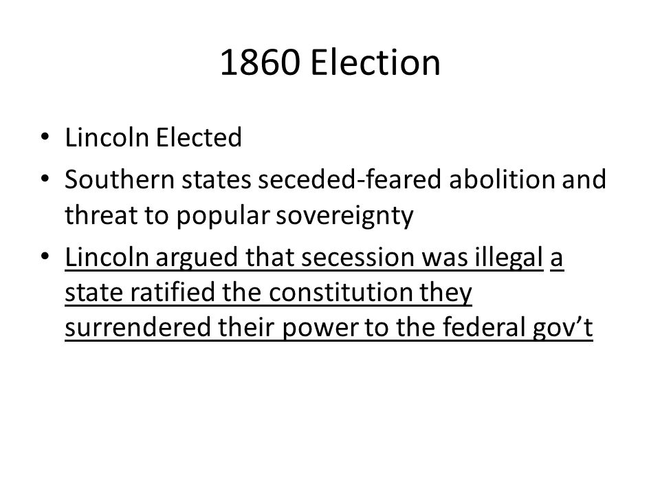 1860 Election Lincoln Elected