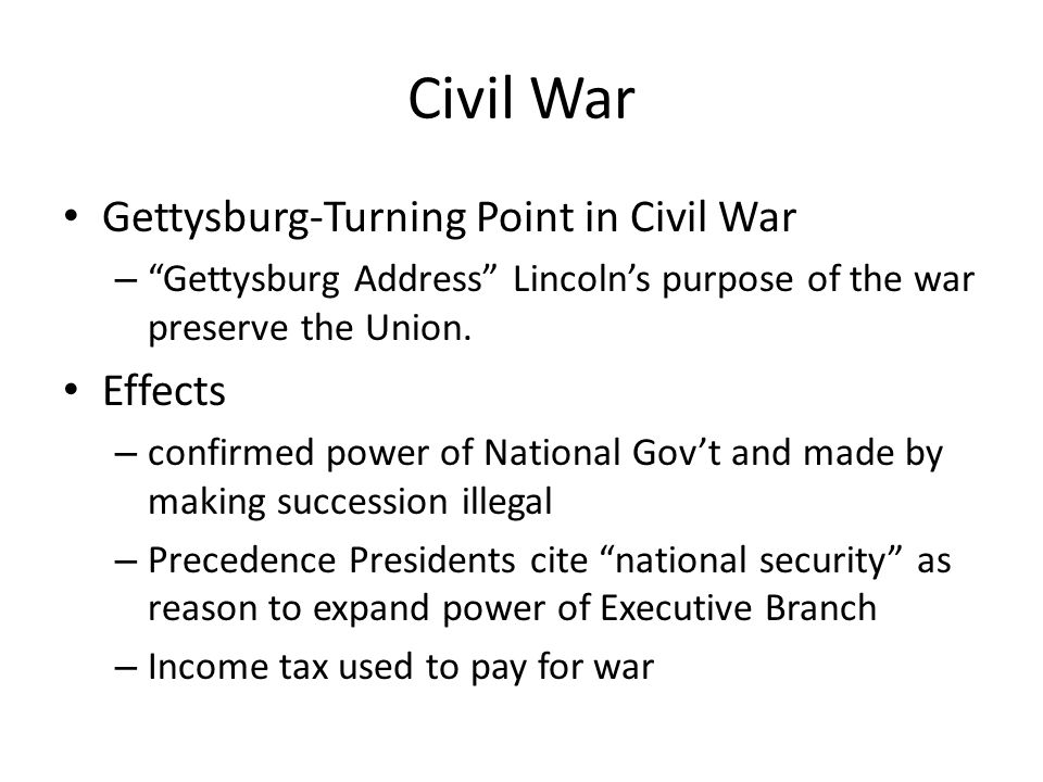 Civil War Gettysburg-Turning Point in Civil War Effects