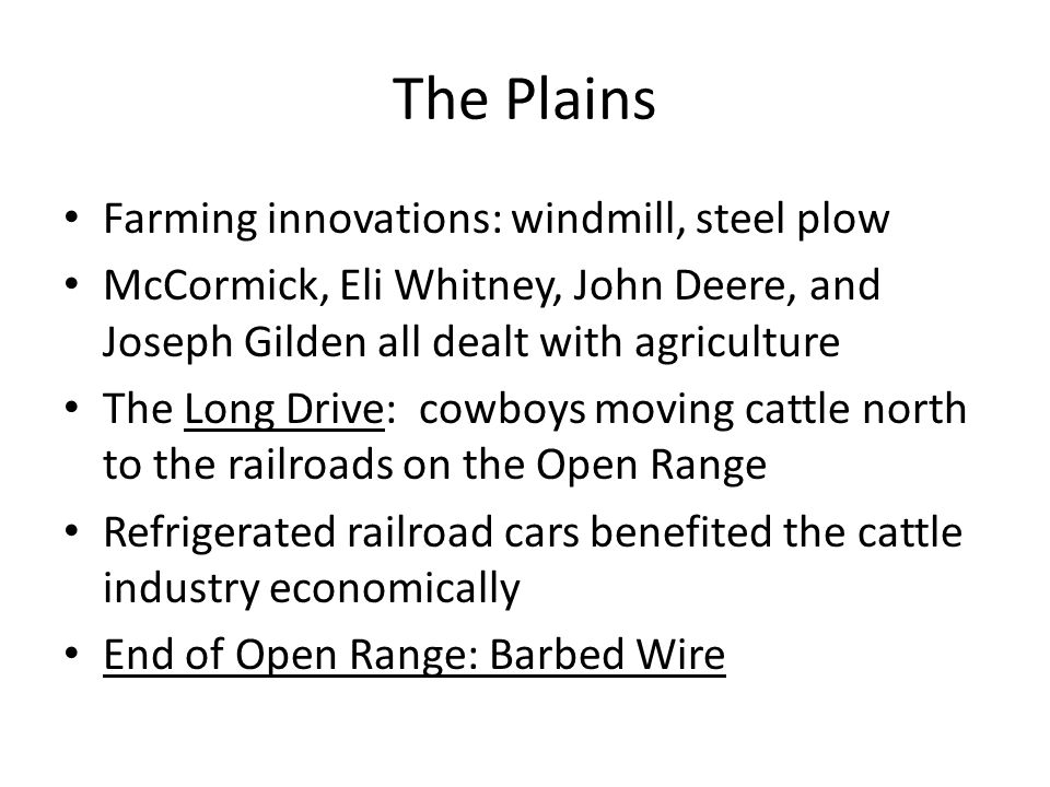 The Plains Farming innovations: windmill, steel plow
