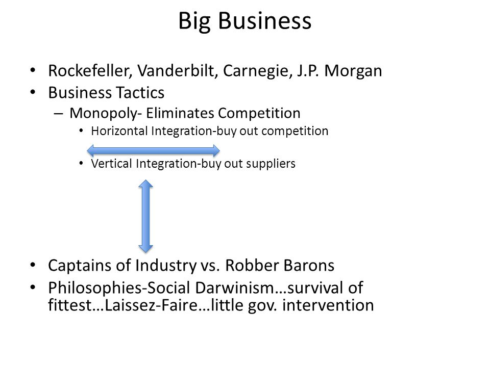 Big Business Rockefeller, Vanderbilt, Carnegie, J.P. Morgan