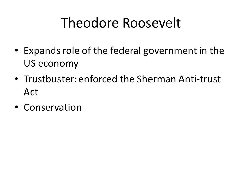 Theodore Roosevelt Expands role of the federal government in the US economy. Trustbuster: enforced the Sherman Anti-trust Act.
