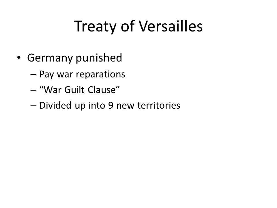 Treaty of Versailles Germany punished Pay war reparations
