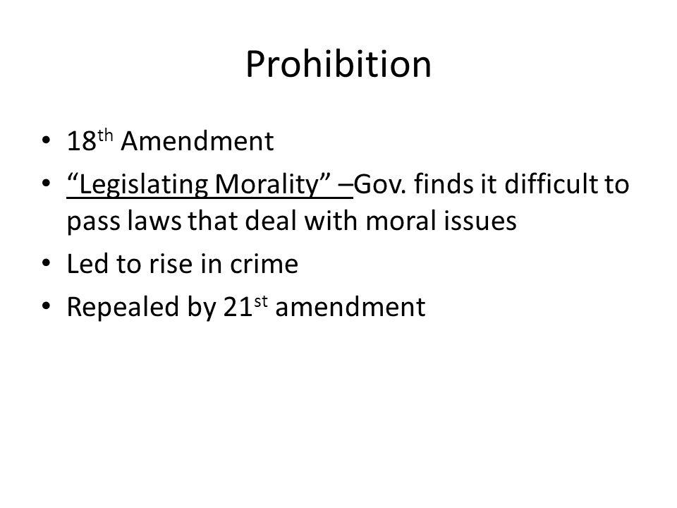 Prohibition 18th Amendment