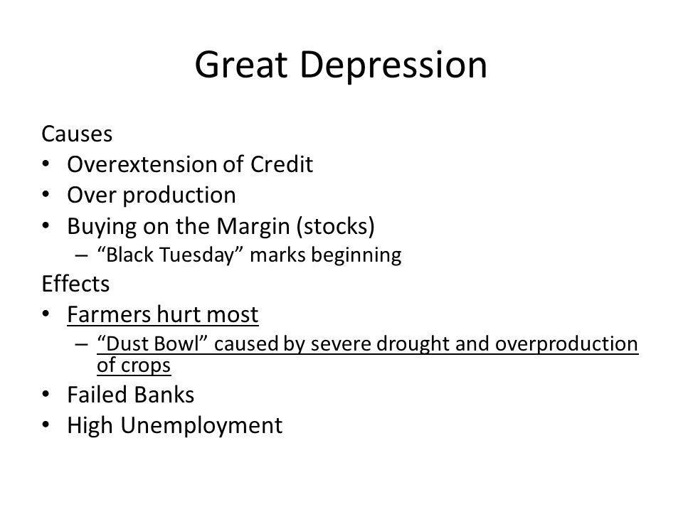 Great Depression Causes Overextension of Credit Over production