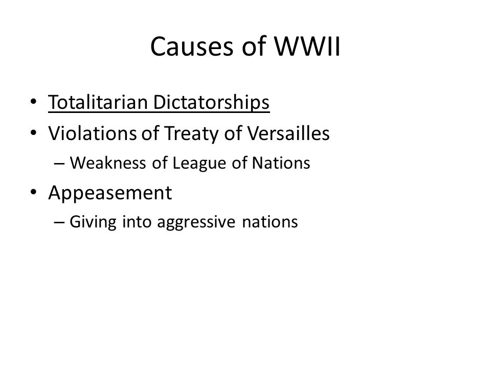 Causes of WWII Totalitarian Dictatorships