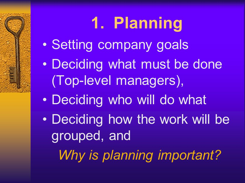 Why is planning important