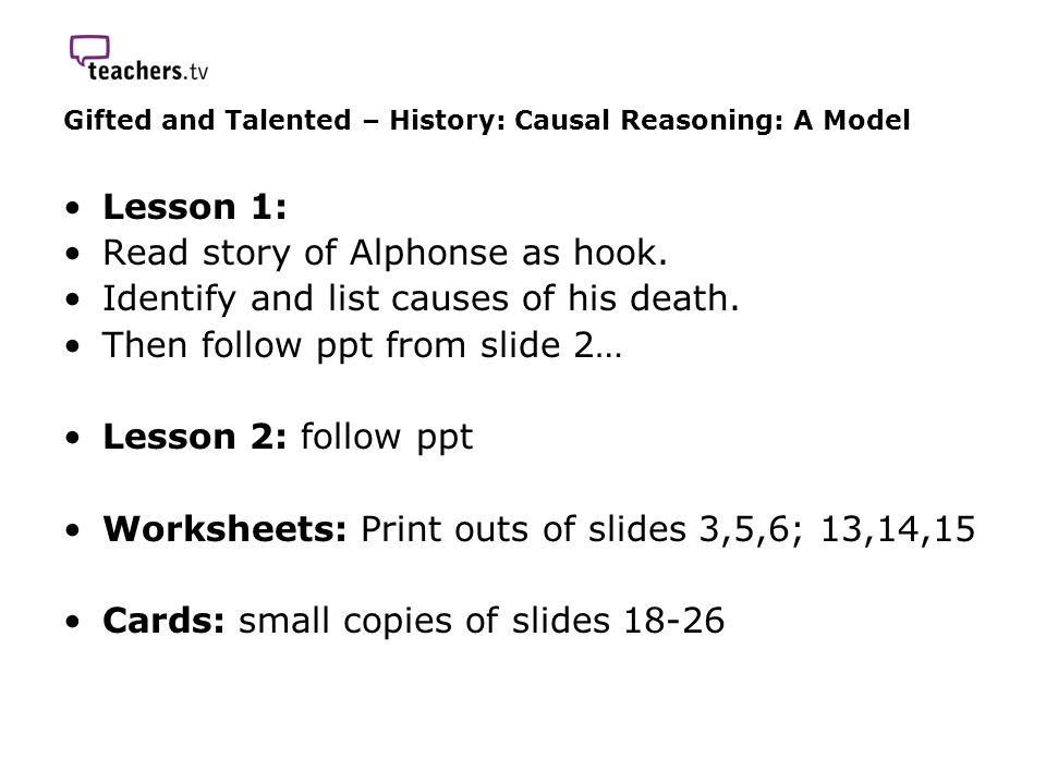 Gifted and Talented – History: Causal Reasoning: A Model