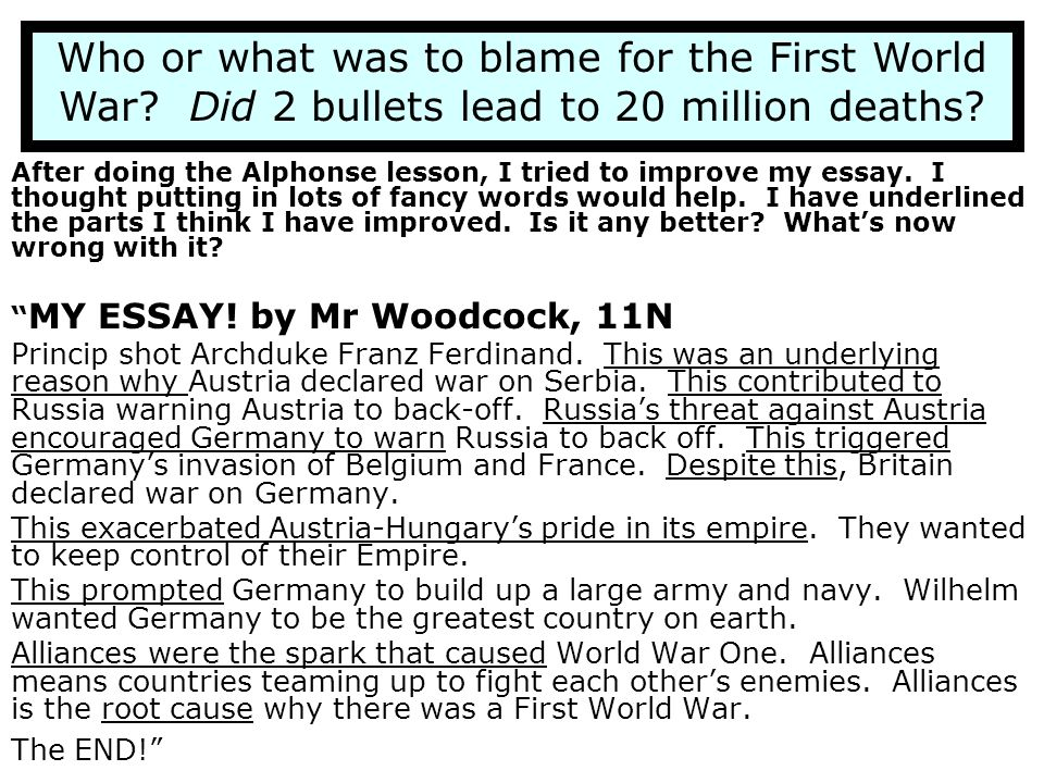 Who or what was to blame for the First World War