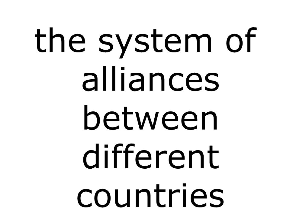 the system of alliances between different countries