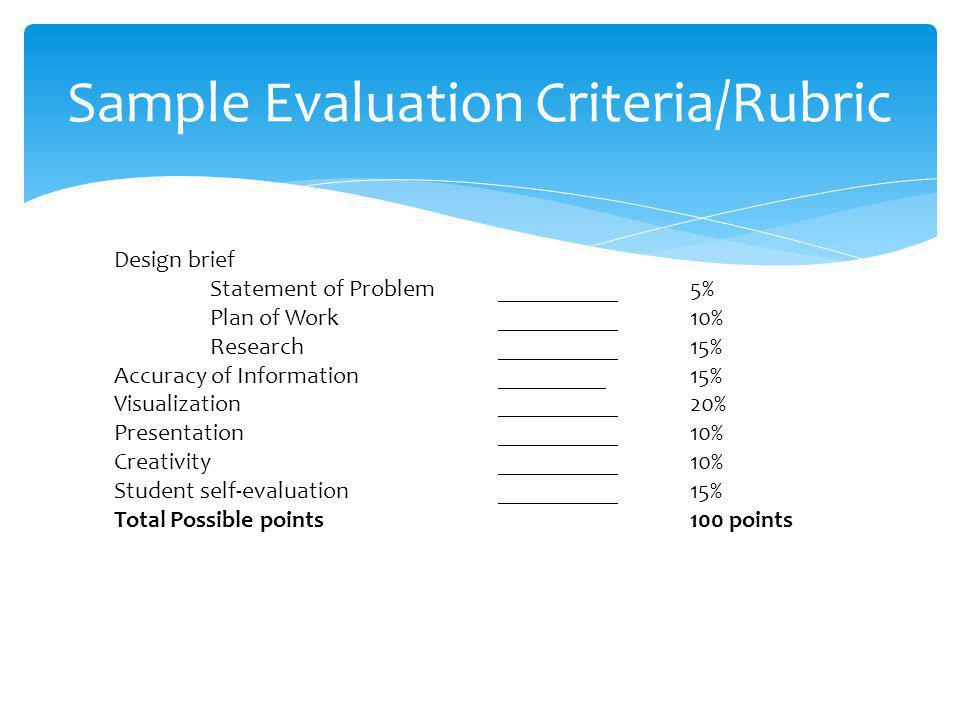 Sample Evaluation Criteria/Rubric
