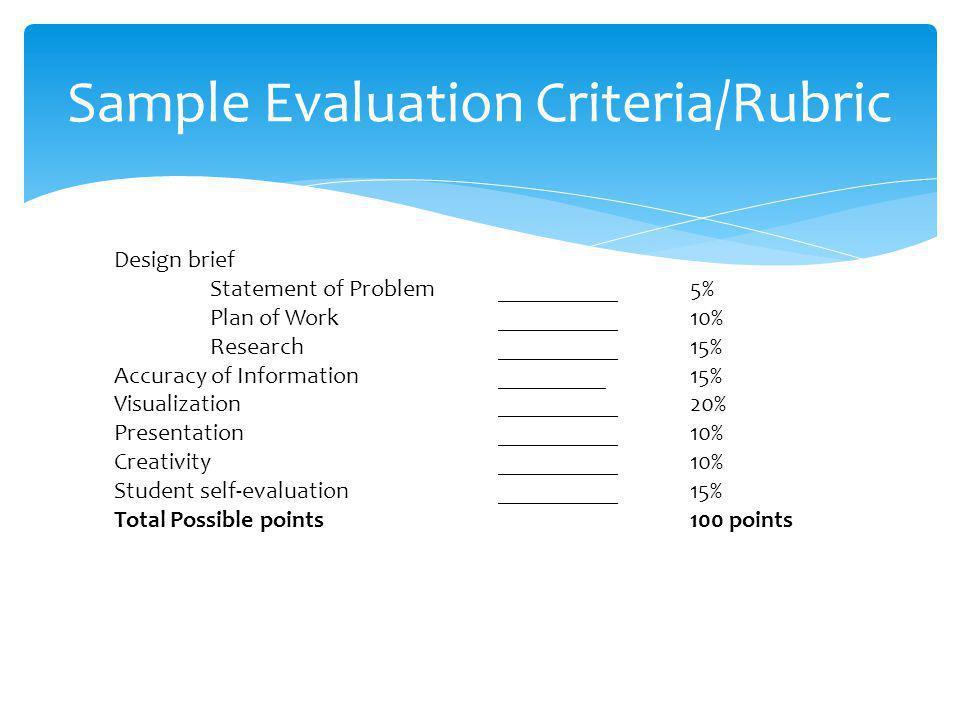 Sample Evaluation Criteria/Rubric