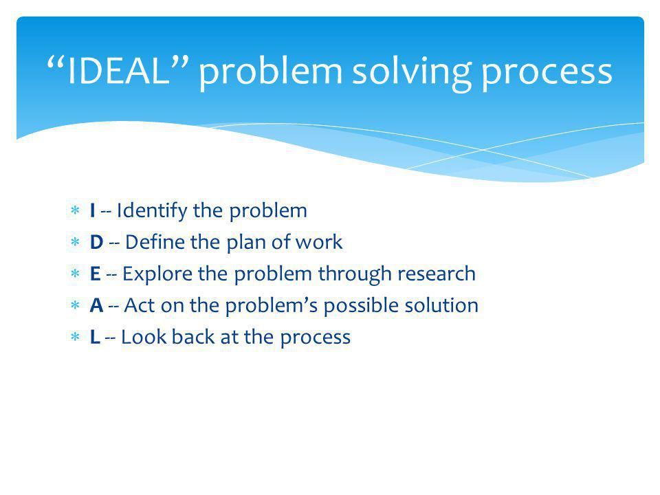 IDEAL problem solving process