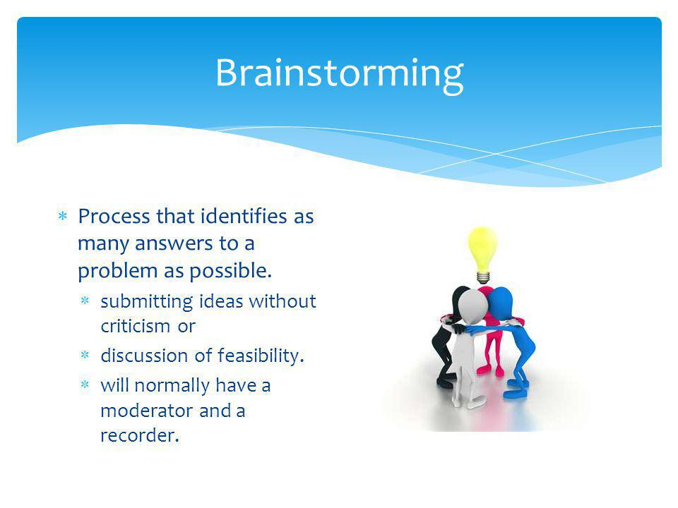 Brainstorming Process that identifies as many answers to a problem as possible. submitting ideas without criticism or.