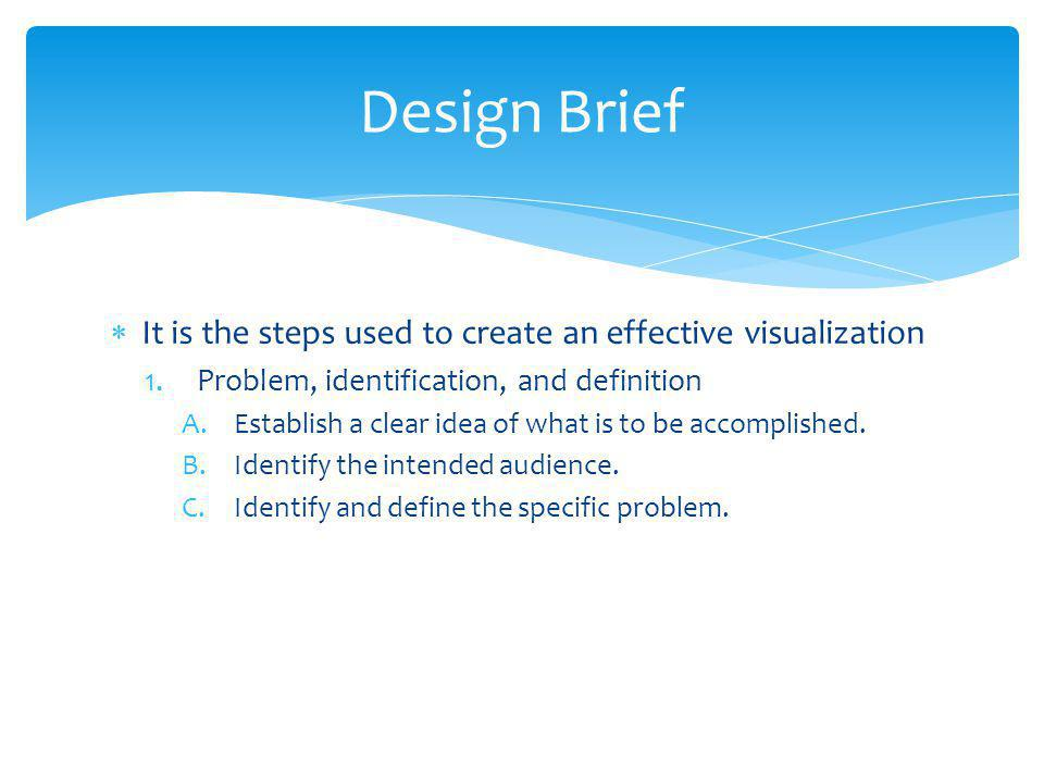 Design Brief It is the steps used to create an effective visualization