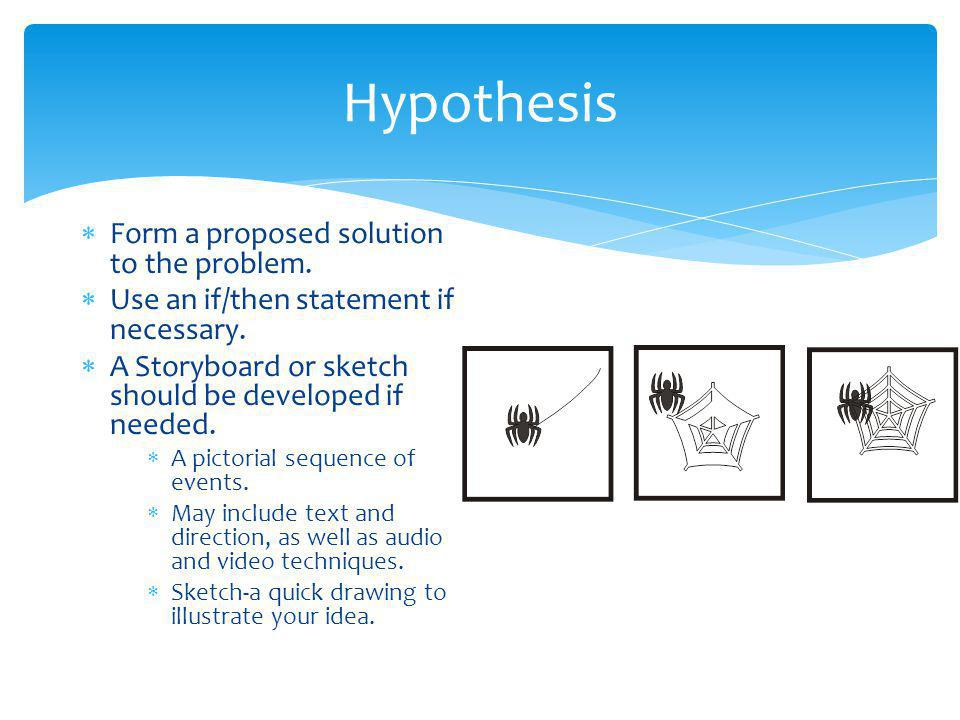 Hypothesis Form a proposed solution to the problem.