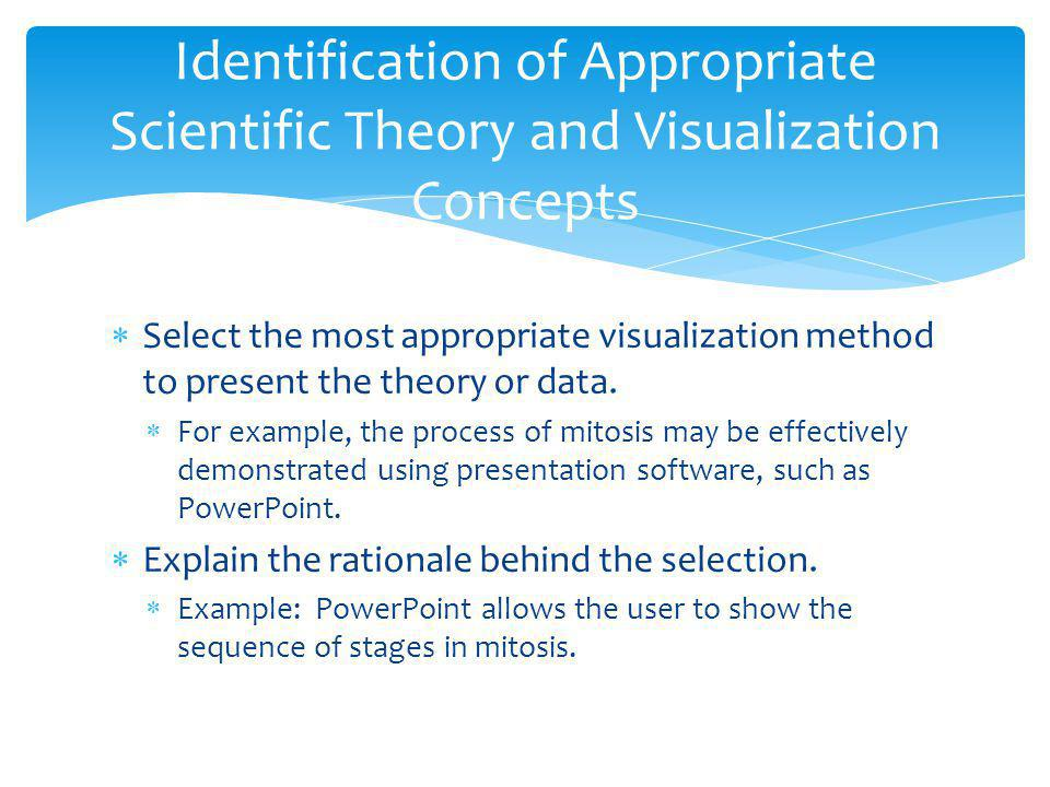 Identification of Appropriate Scientific Theory and Visualization Concepts