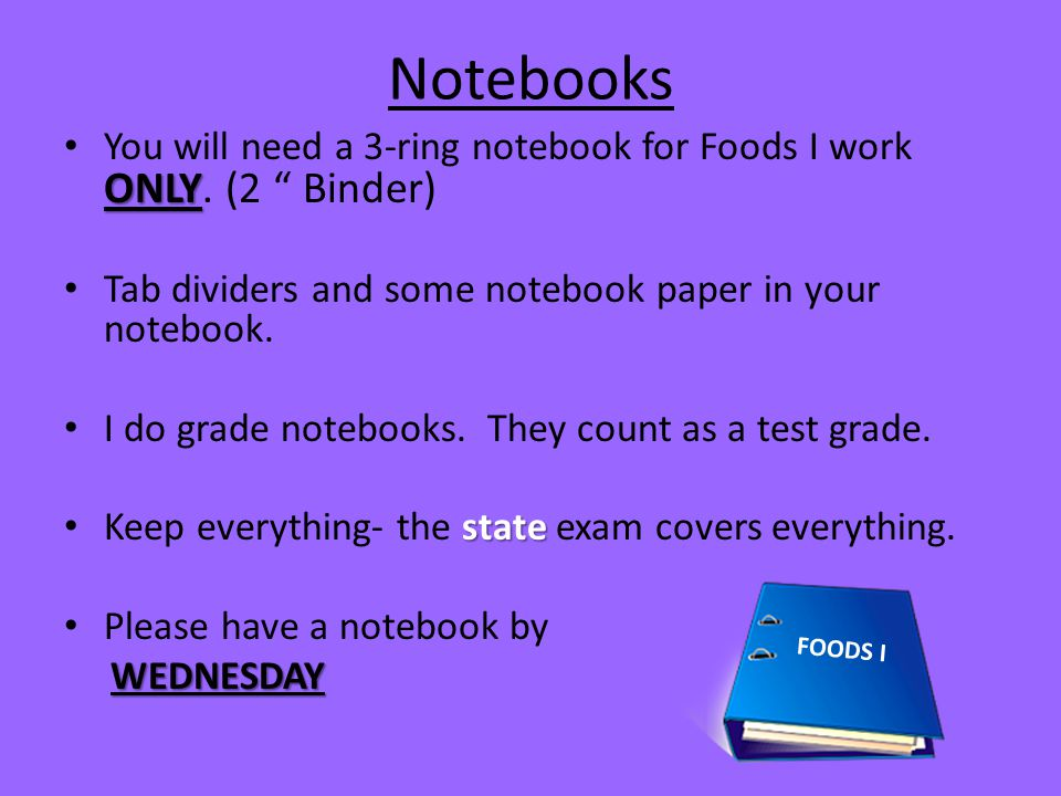 Notebooks You will need a 3-ring notebook for Foods I work ONLY. (2 Binder) Tab dividers and some notebook paper in your notebook.