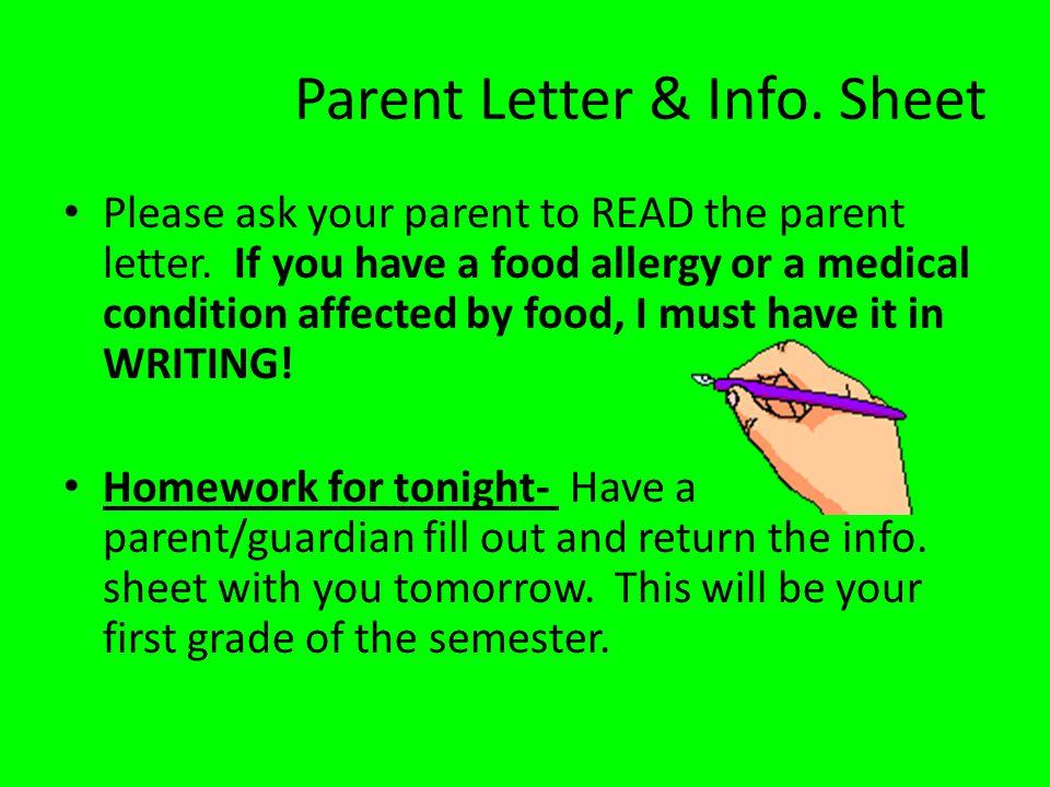 Parent Letter & Info. Sheet