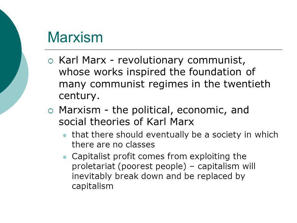 Marxism Karl Marx - revolutionary communist, whose works inspired the foundation of many communist regimes in the twentieth century.