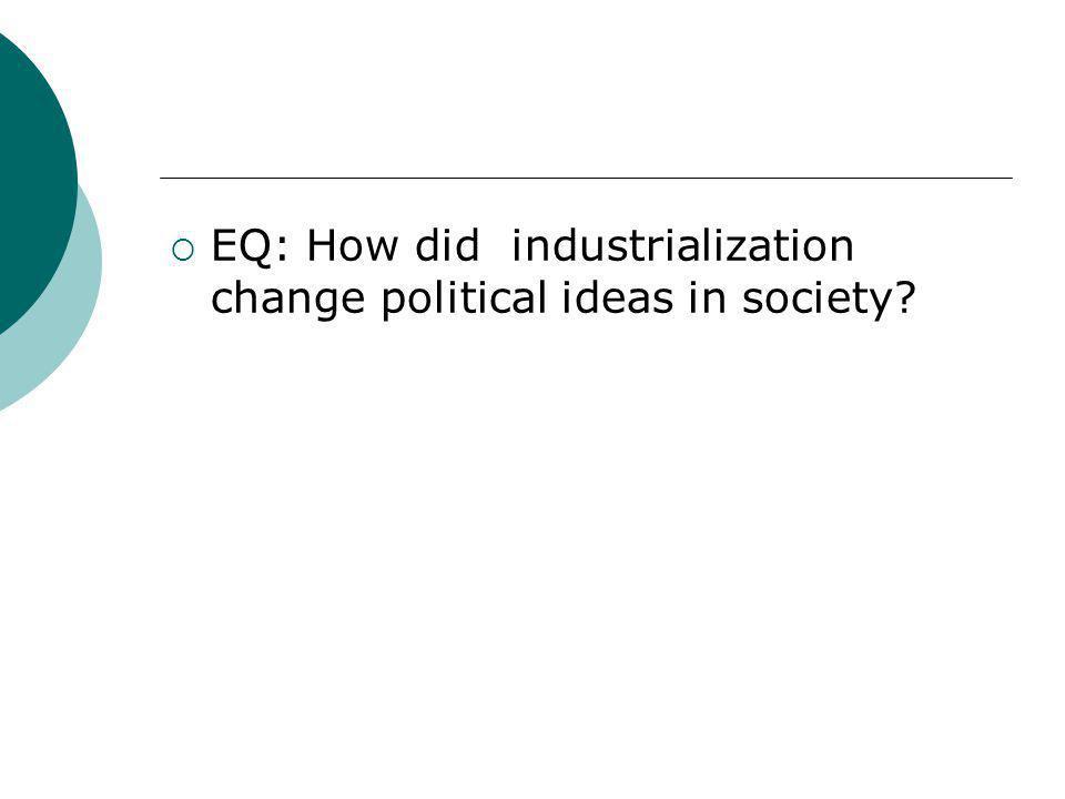 EQ: How did industrialization change political ideas in society
