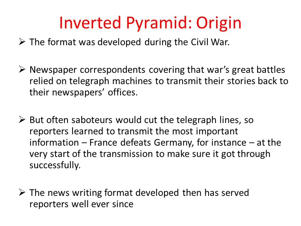 Inverted Pyramid: Origin