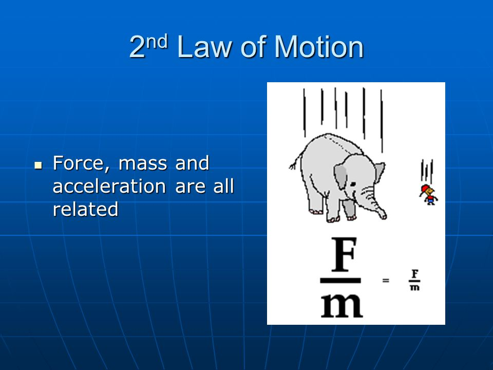 2nd Law of Motion Force, mass and acceleration are all related