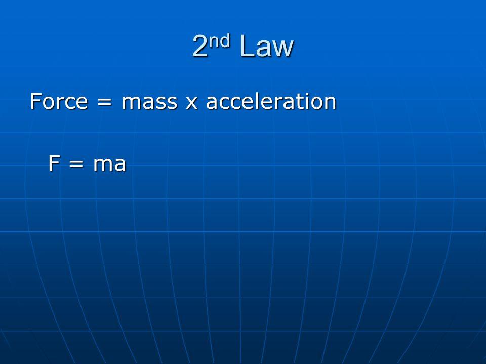 2nd Law Force = mass x acceleration F = ma