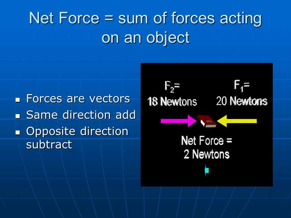 Net Force = sum of forces acting on an object