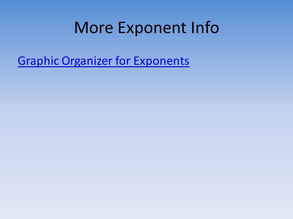 More Exponent Info Graphic Organizer for Exponents