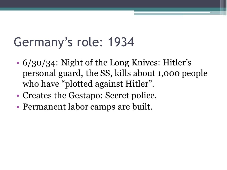 Germany's role: 1934