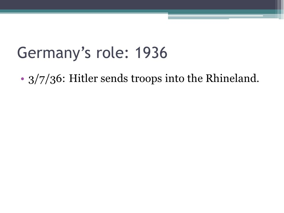 Germany's role: 1936 3/7/36: Hitler sends troops into the Rhineland.