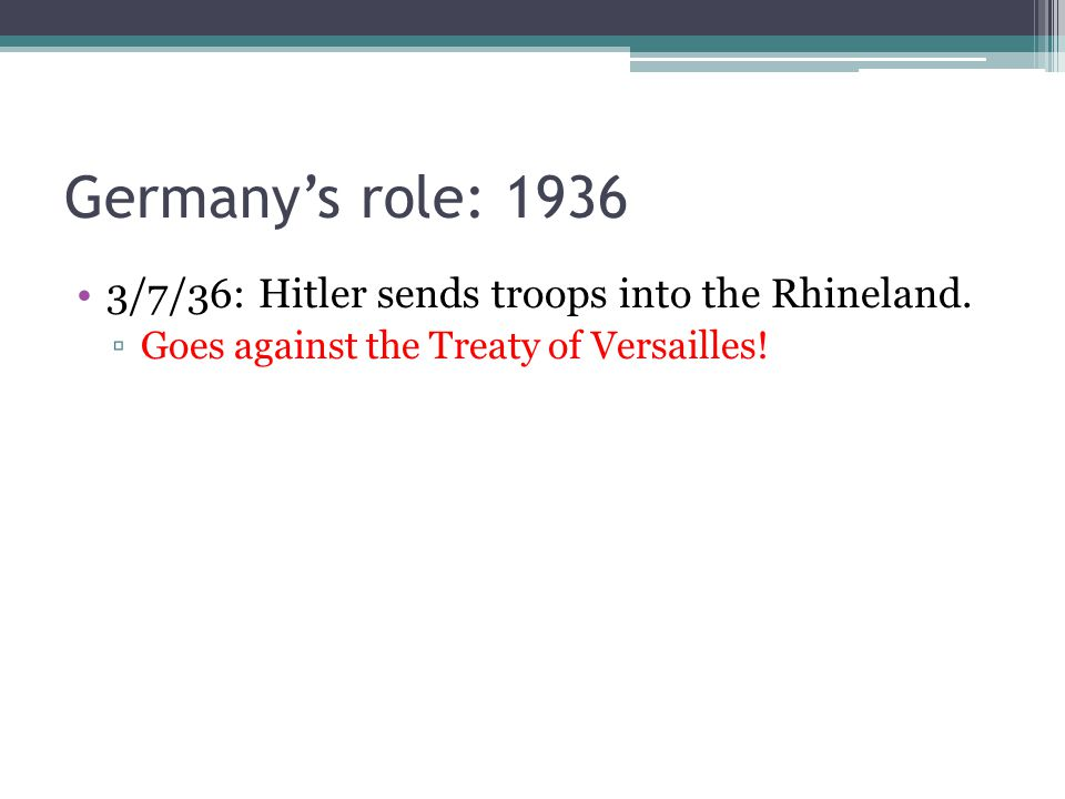 Germany's role: /7/36: Hitler sends troops into the Rhineland.