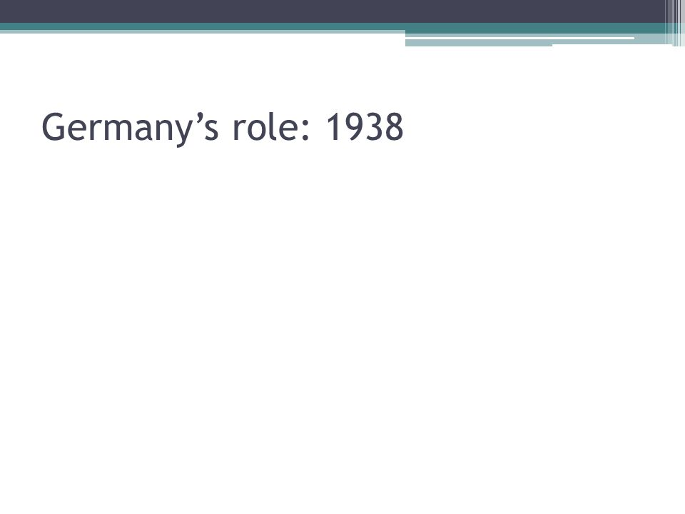 Germany's role: 1938