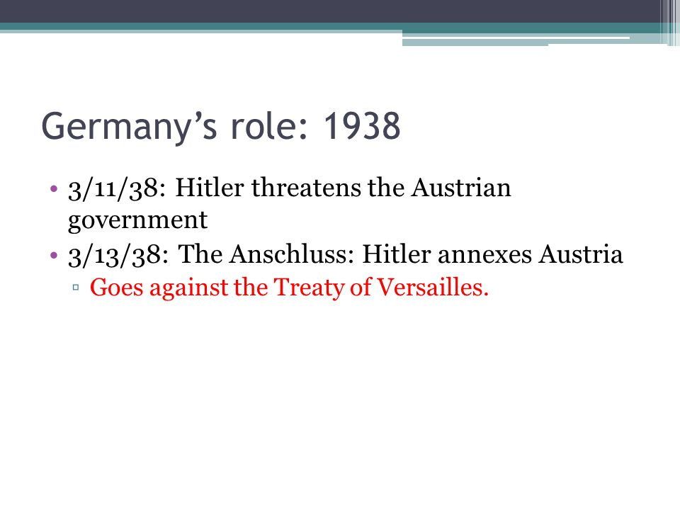 Germany's role: 1938 3/11/38: Hitler threatens the Austrian government