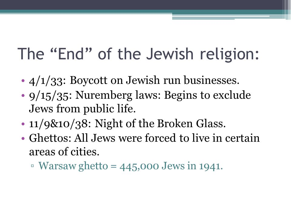 The End of the Jewish religion: