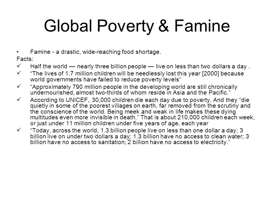 Global Poverty & Famine