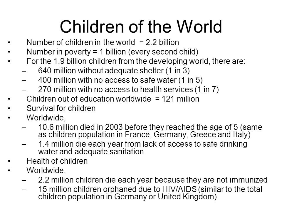 Children of the World Number of children in the world = 2.2 billion
