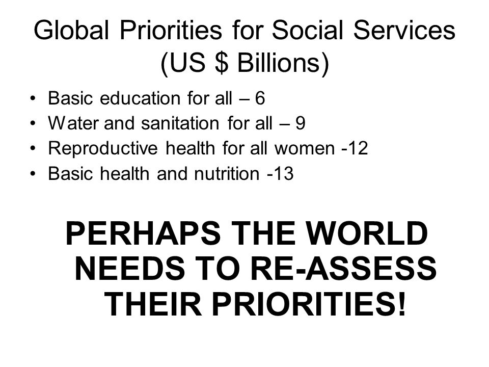 Global Priorities for Social Services (US $ Billions)