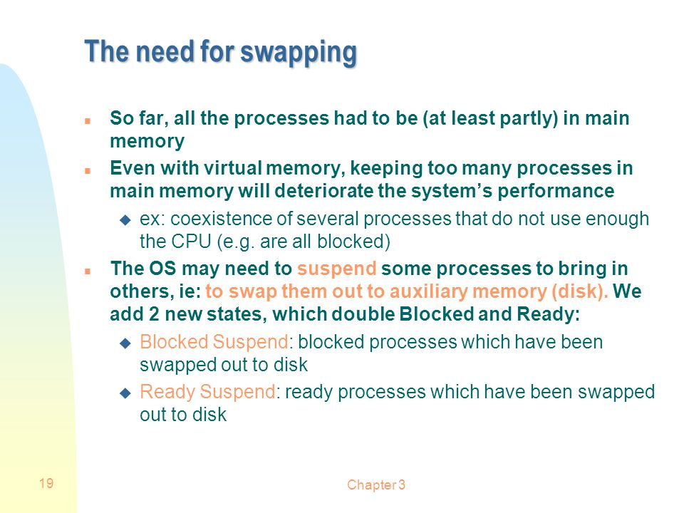 The need for swapping So far, all the processes had to be (at least partly) in main memory.