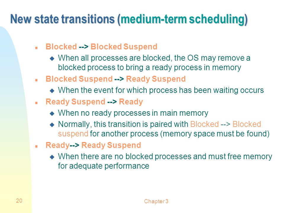 New state transitions (medium-term scheduling)
