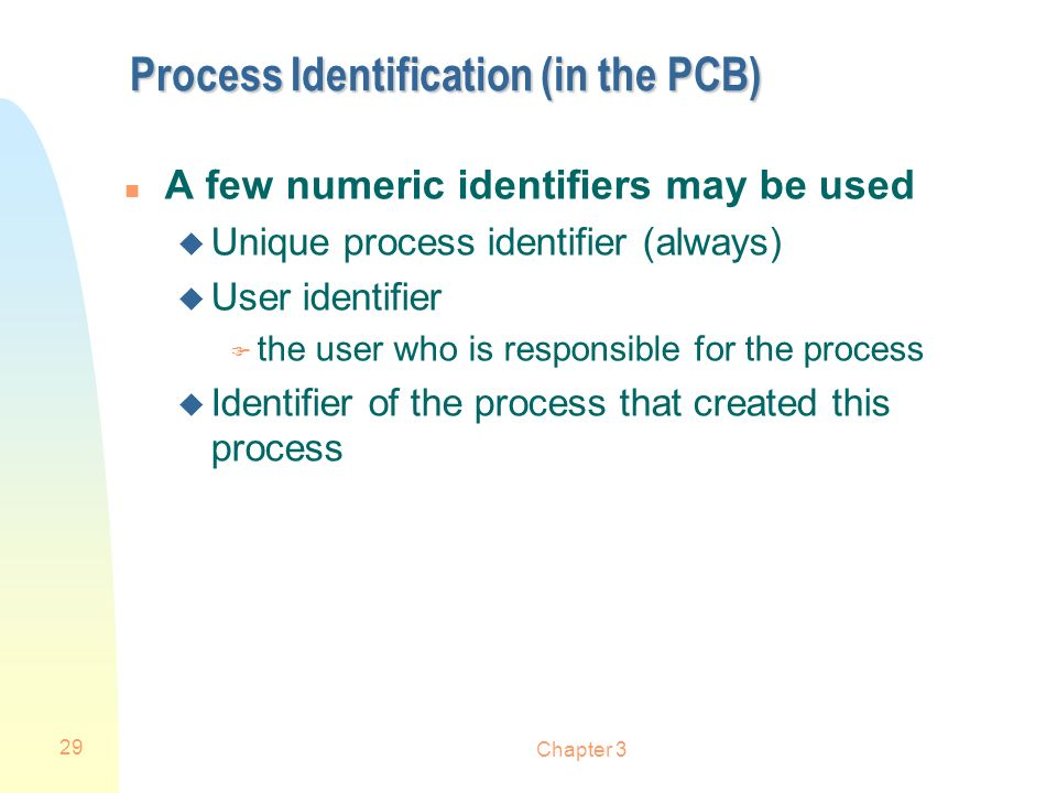 Process Identification (in the PCB)