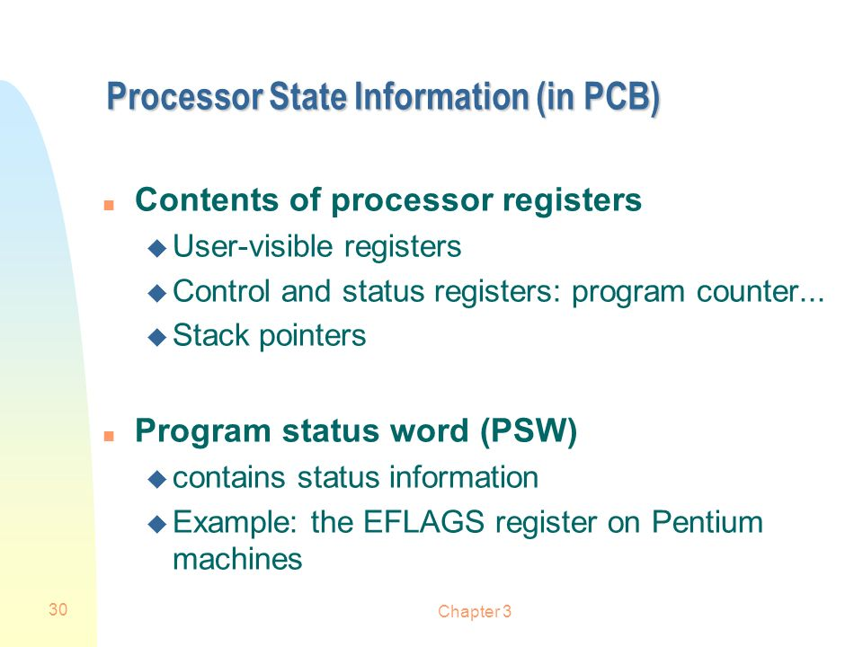 Processor State Information (in PCB)
