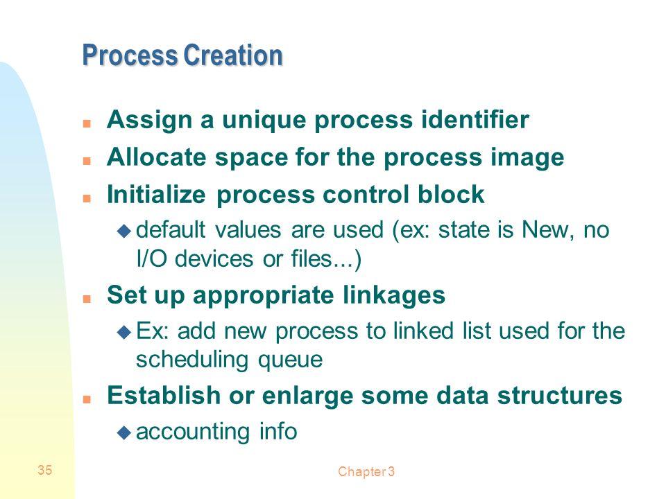 Process Creation Assign a unique process identifier