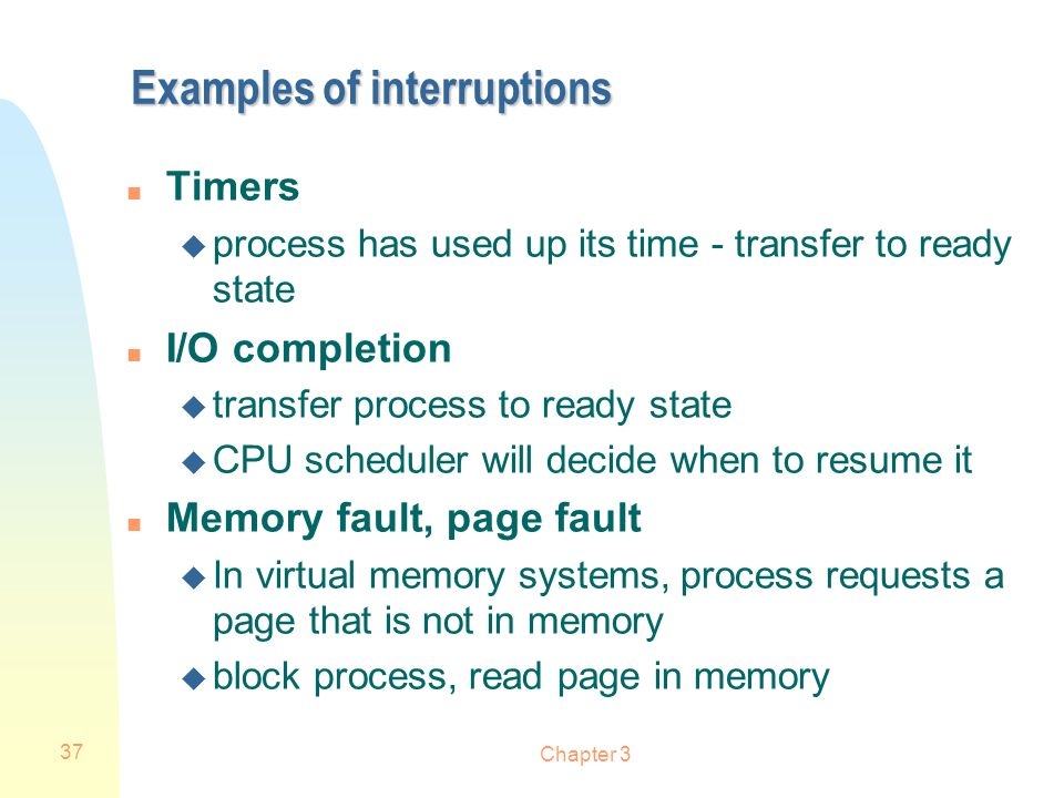 Examples of interruptions
