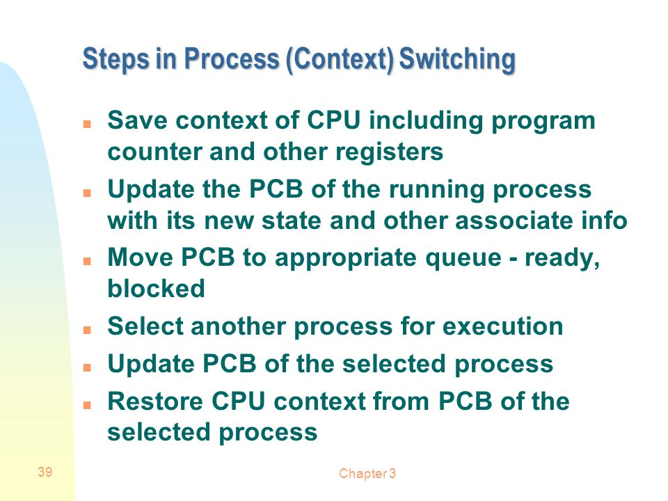Steps in Process (Context) Switching